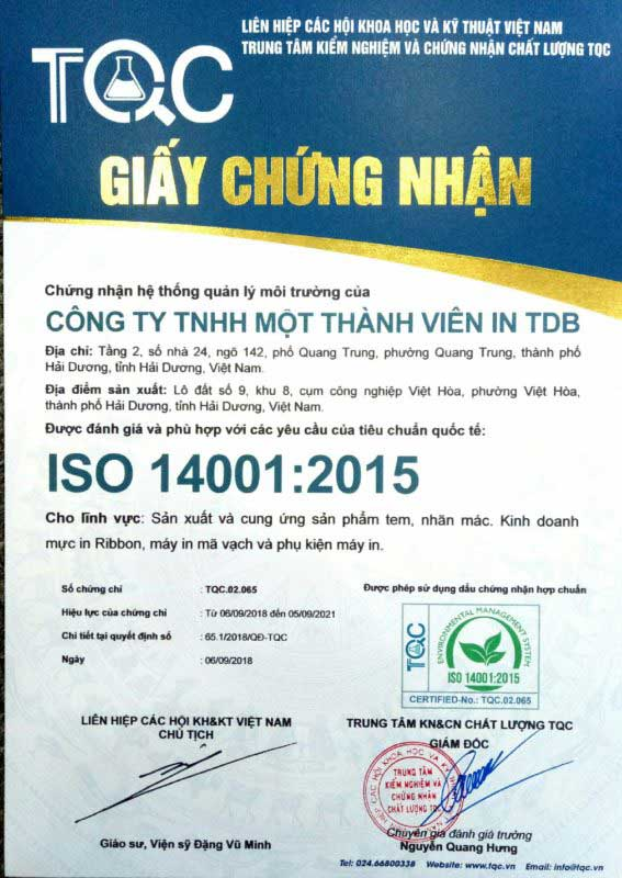 Chứng chỉ ISO